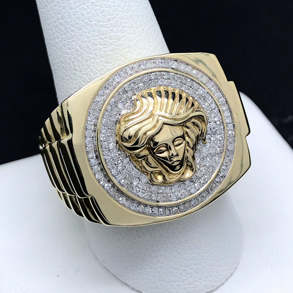 Men's Versace Inspired Medusa Diamond Ring in 10KT Gold