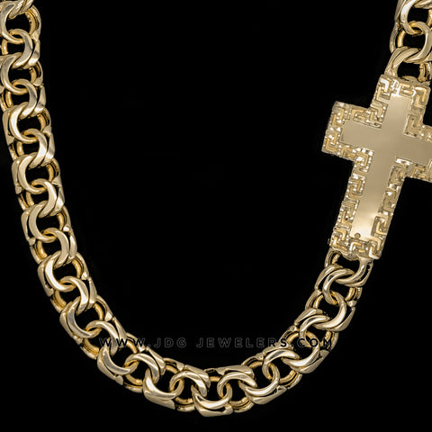Chino Link Chain with Cross Versace Border