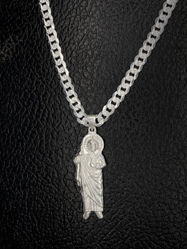 Set de San Judas con Cadena de Plata 925/Sterling Silver St. Jude with Chain Set