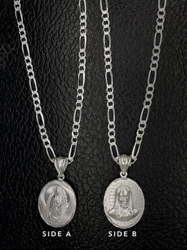 Virgen Maria y Sagrado Corazon con Cadena de Plata 925/Sterling Silver Chain with Virgin Mary & Sacred Heart Medal