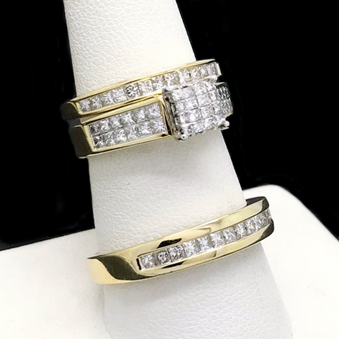 Trio de Matrimonio Con Diamantes de Oro 14KT/14KT Gold Wedding Trio With Diamonds