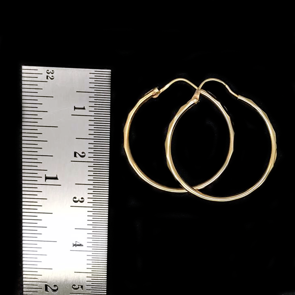 Arracadas De Oro 10KT/10KT Gold Hoop Earrings