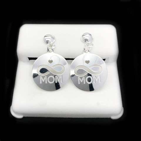 "Aretes De ""MOM"" de Plata 925/Sterling Silver ""MOM"" Earrings"