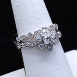 Women's 0.75 CTW Diamond Flower Wedding Set in 14KT White Gold