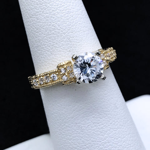 Women's Vintage Inspired CZ Ring in 10KT Gold