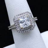 Women's Double Halo CZ Ring in 10KT Gold