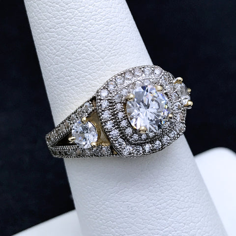 Women's Vintage Inspired Ring with Side Stones in 10KT Yellow & White Gold with CZ Stones
