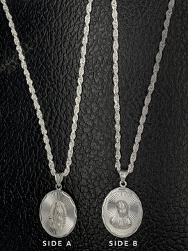 Medalla de Virgen Maria con Cadena de Plata 925/Sterling Silver Chain with Virgin Mary Pendant