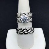 10KT White Gold Cuban Link Wedding Trio