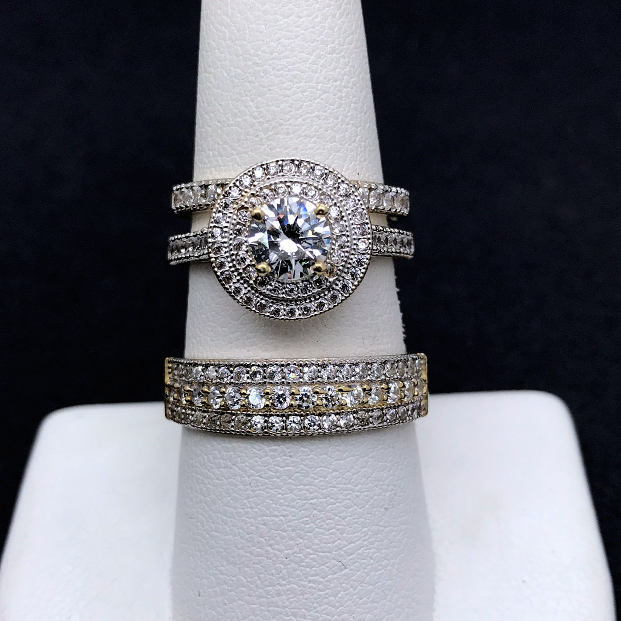 10KT Gold Cubic Zirconia Wedding Trio
