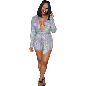 Sparkly Sequin Women Matching Shorts Set