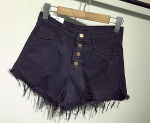 High Waist Distressed Short Jeans