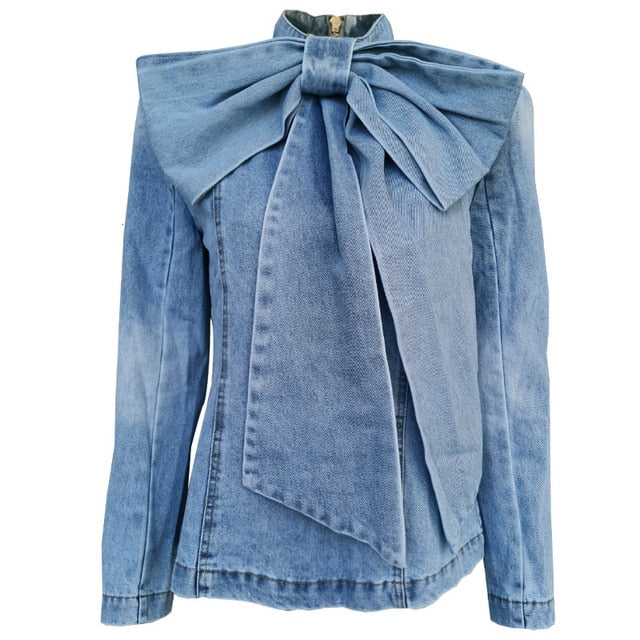 P-Bow Denim Long Sleeve Blouse/Jacket