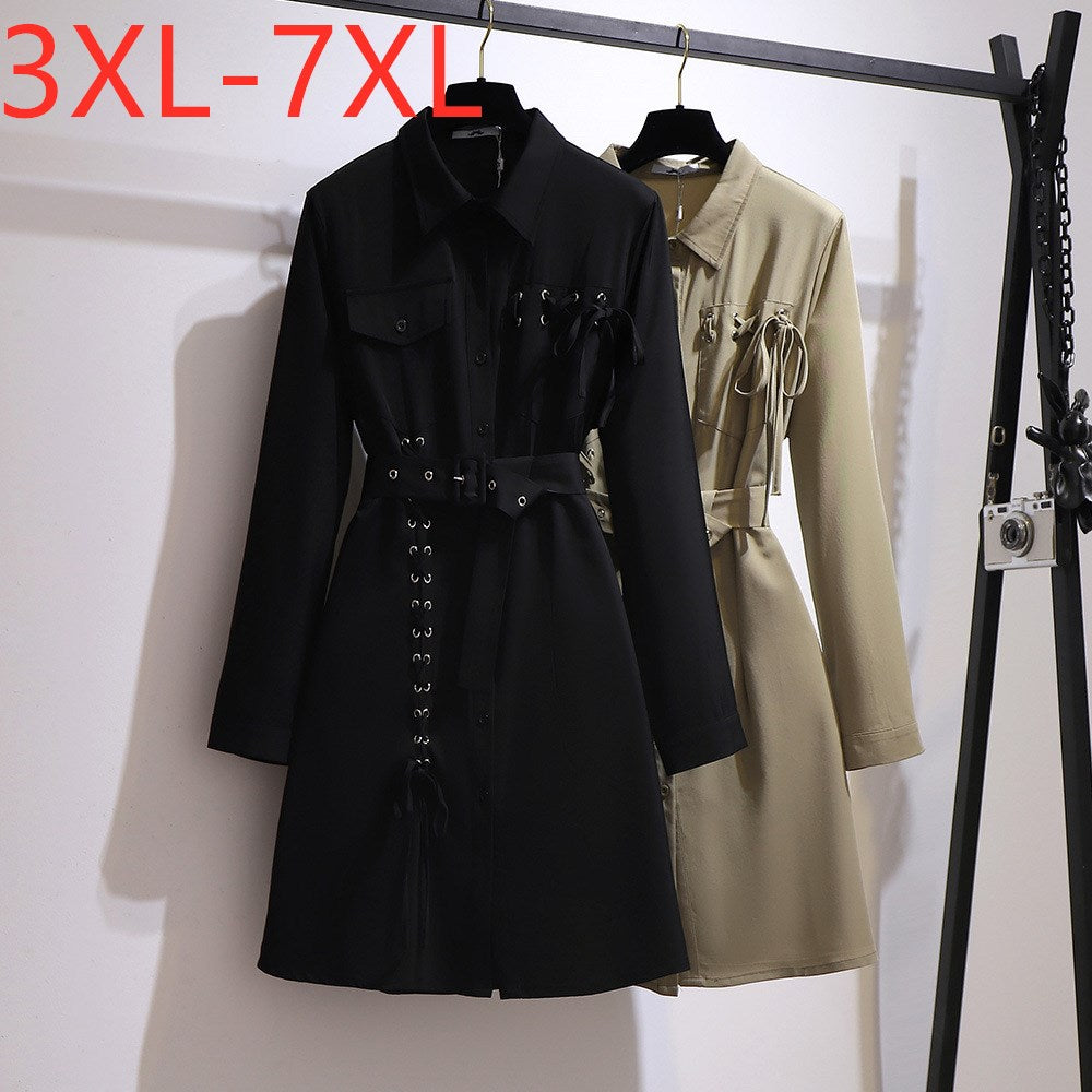 Trim Embellished Trench-coat 3XL 4XL 5XL 6XL 7XL