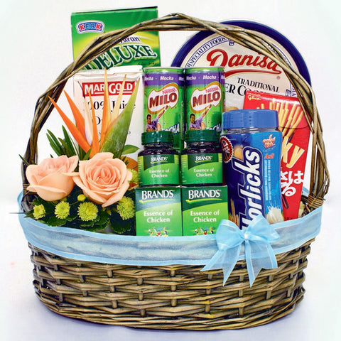 Healthy Wishes KGH0053 | Wellness Gift Hamper Basket | Katong Flower Shop Free Delivery