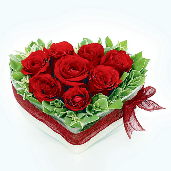 8 Red roses in heart-shaped glass vase by Katong Flower Shop for Singapore Flower Delivery