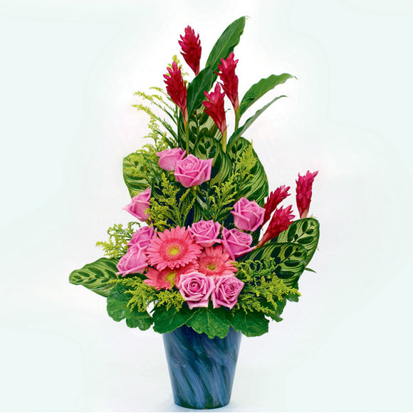 10 Dark pink lilies, 3 gerberas and 7 ginger flowers in a vase by Katong Flower Shop for Singapore Delivery