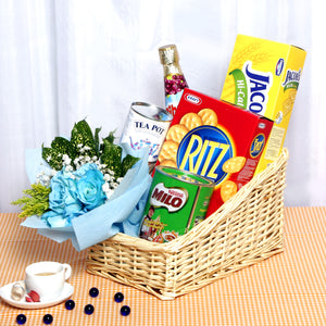 Healthy snacks and a bouquet by Katong Flower Shop to pamper your loved ones.
