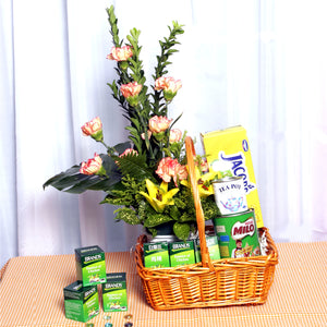 Get well basket with healthy food and flower arrangement by Katong Flower Shop for Singapore delivery.