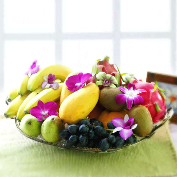 Tropical fruit get well basket with orchid flowers by Katong Flower Shop for Singapore delivery