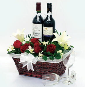 Two bottles of red wine hamper with flowers for delivery to whole of Singapore by Katong Flower Shop