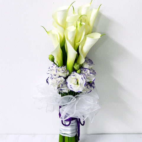 Calla Lilies/Peace Lilies and Eustoma bouquet with filler flowers by Katong Flower Shop with free delivery to the whole of Singapore