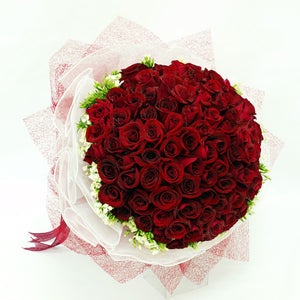 99 red rose bouquet with filler flowers by Katong Flower Shop with Delivery Options_Free Delivery to the whole of Singapore
