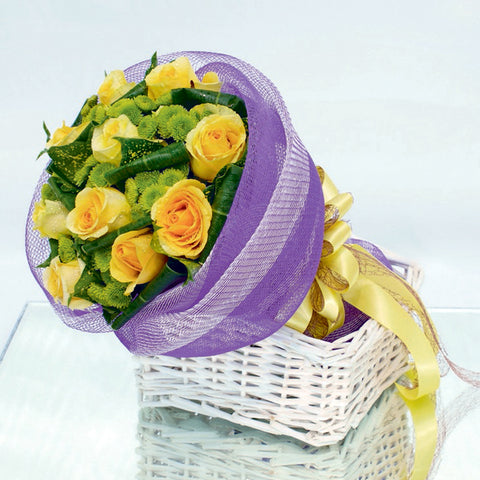10 yellow rose bouquet with filler flowers by Katong Flower Shop with free delivery to the whole of Singapore