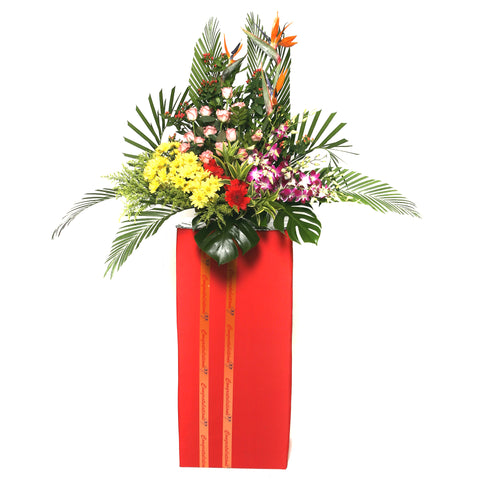 Gerbera daisies, Orchids, Roses and Bird of paradise flowers arranged on a box stand for grand opening and congratulatory occasions by Katong Flower Shop for Singapore Delivery.
