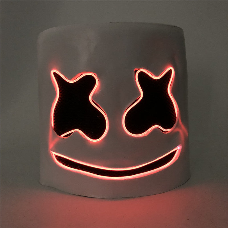 DJ LED Halloween Mashmello Mask Scary Cosplay for Costumes