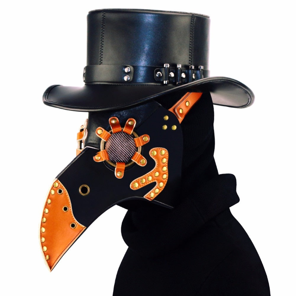 Halloween PU Beak  Plague Doctor Mask Steampunk Vintage Masks