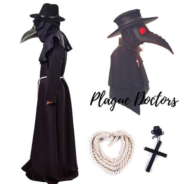 Plague Doctor Cosplay Costume Steampunk Outfit Adult Halloween Fancy Dress