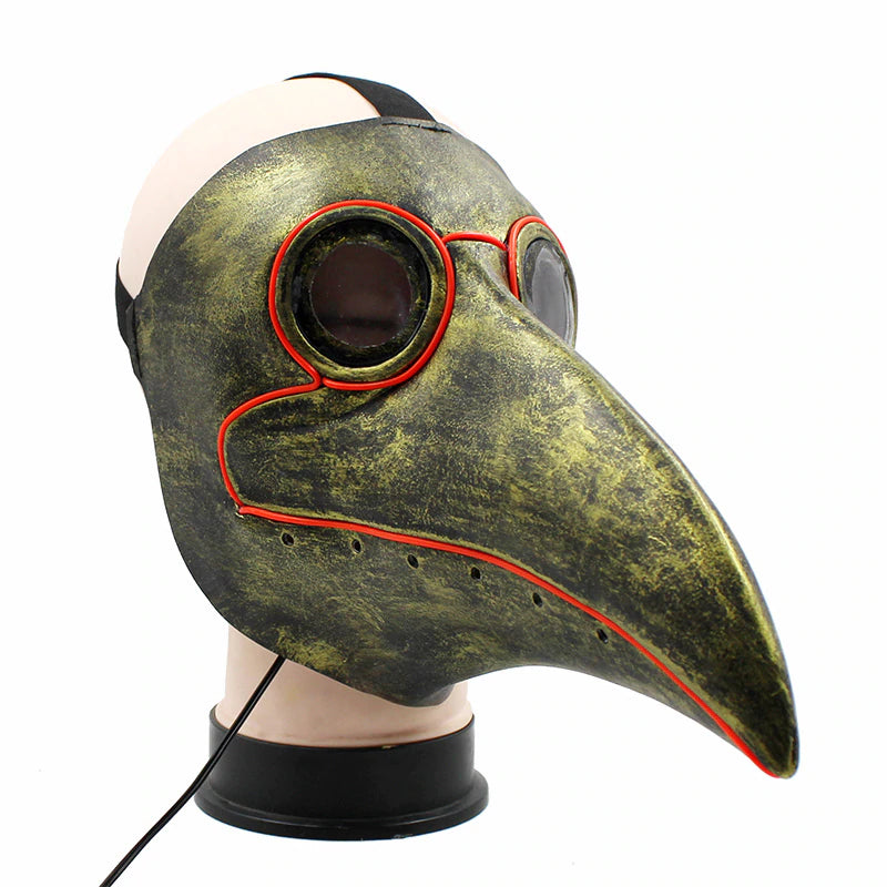 Retro Steampunk LED Funny Plague Bird Doctor Cosplay Mask