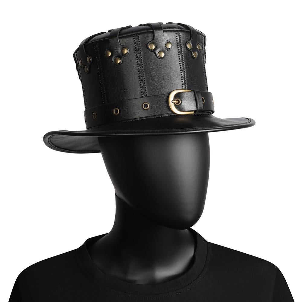 Plague Doctor Flat Hat Black Halloween Steampunk Hat
