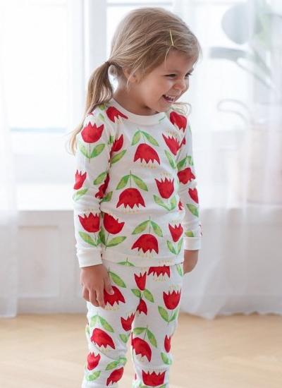 [LAST PIECE] Red Tulip Pyjamas Set (4-5Y)