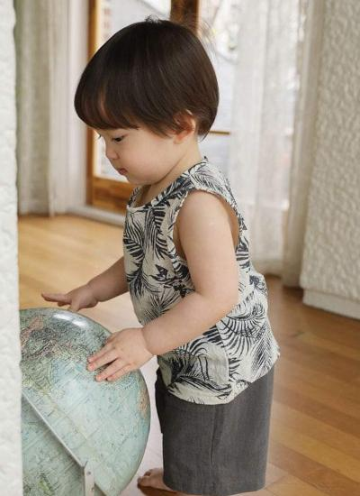 [LAST PIECE] Aloha Sleeveless T (Navy) (6-7Y)