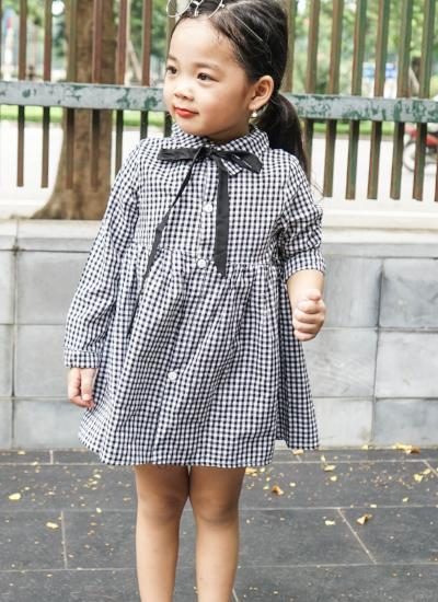 Olivia Checkered Dress (Dark Blue)