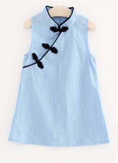 Mini Cheongsam Dress (Blue)