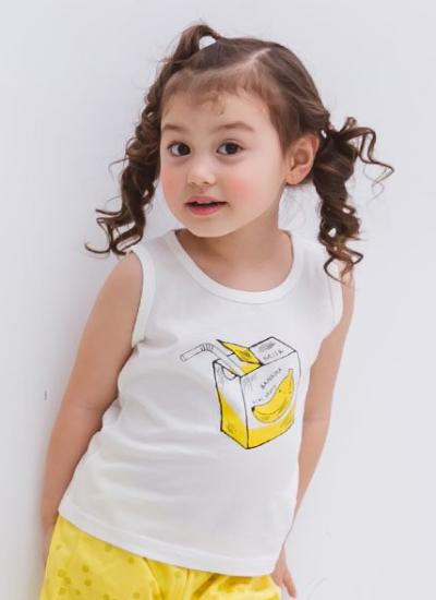 [LAST PIECE] Banana Milk Sleeveless + Shorts Set (6-7Y)