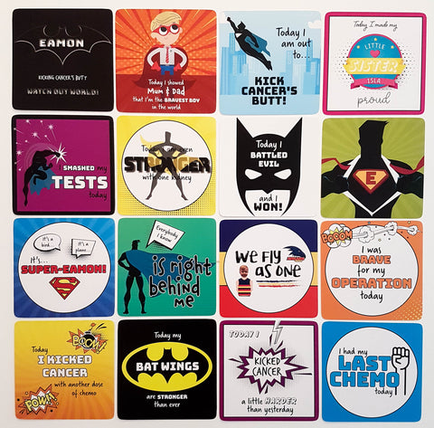 Cancer Kid Superhero Milestone Cards