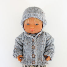 Load image into Gallery viewer, Premmie Knitted Jacket & Beanie - Light Blue Fleck