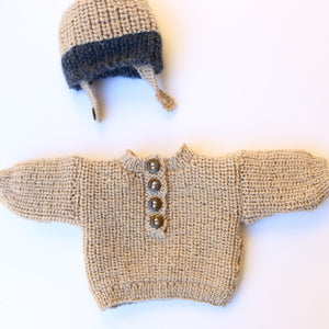 Premmie Knitted Set - Overalls, Jumper & Hat
