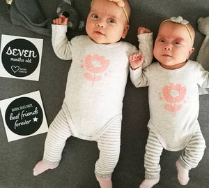 'We're Growing!' (Twins) Age Premature Baby Milestone Cards