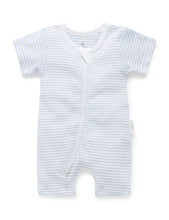 Load image into Gallery viewer, Pure Baby Short Leg Zip Growsuit - Pale Blue Stripe