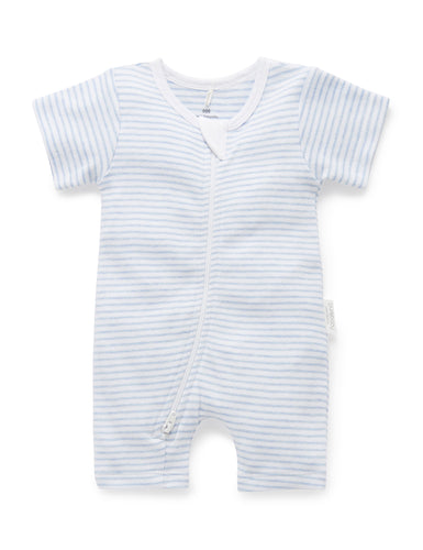 Pure Baby Short Leg Zip Growsuit - Pale Blue Stripe