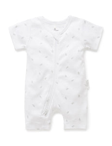 Pure Baby Short Leg Zip Growsuit - Pale Grey Leaf