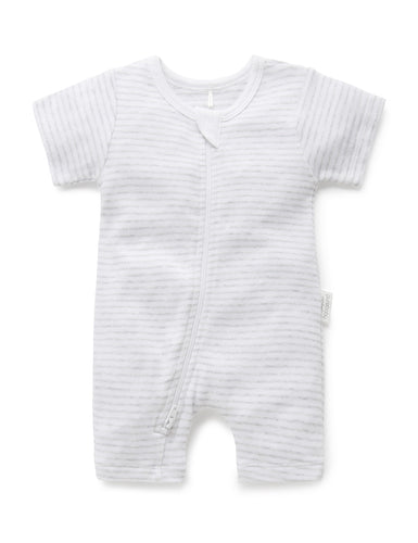 Pure Baby Short Leg Zip Growsuit - Pale Grey Stripe