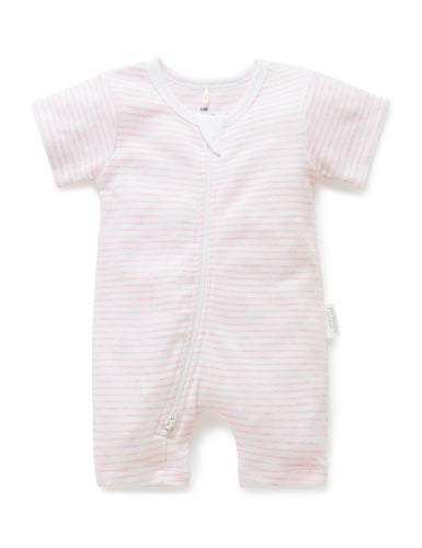 Pure Baby Short Leg Zip Growsuit - Pale Pink Stripe