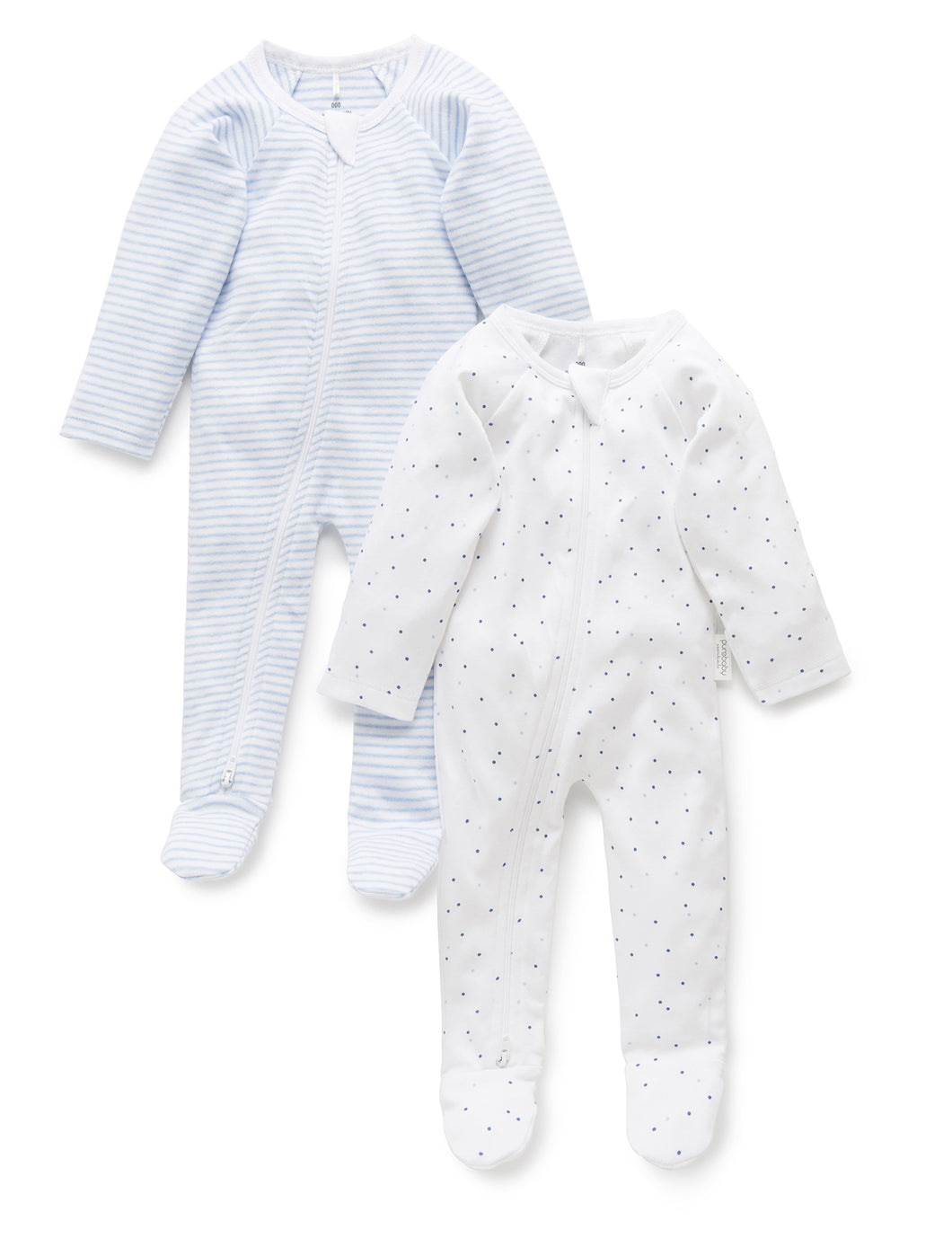 Pure Baby Zip Growsuit 2 Pack Premature Baby Clothing