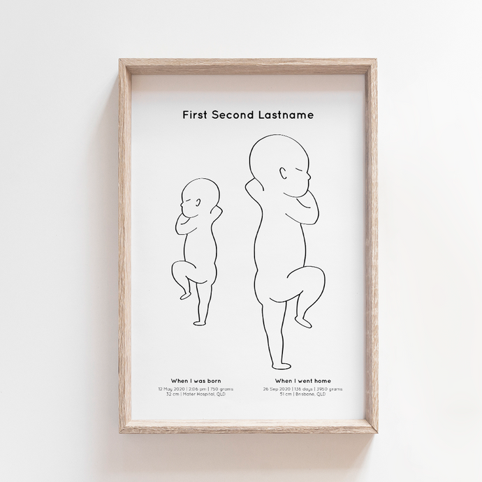 From Small Beginnings 1:1 Birth Print | Hospital vs Home - Portrait